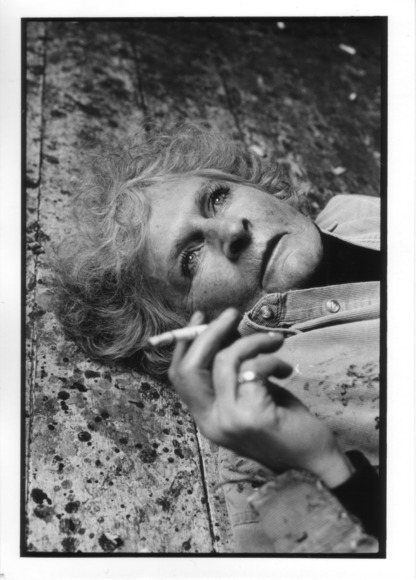 Maggi Hambling on her studio floor.