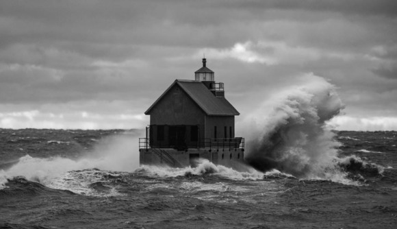 Waves Crashing into Lighthouse