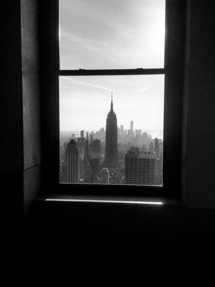 Empire State through window