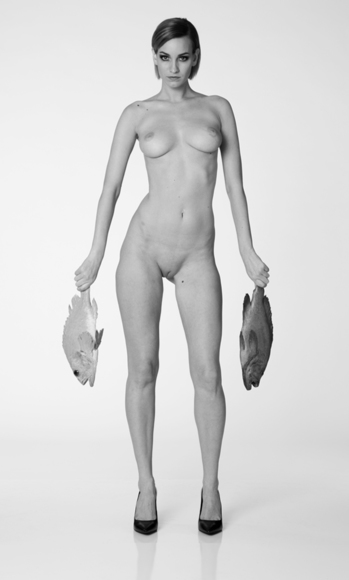 Nude Woman Holding Two Fish
