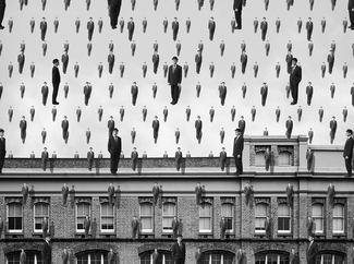 It's raining men: Homage to Magritte