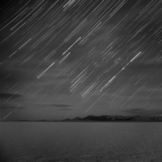 Cloudy Star Tracks Over the Black Rock Desert