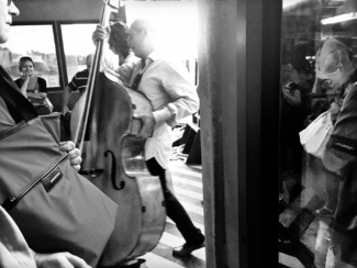 Double bass on the way to work