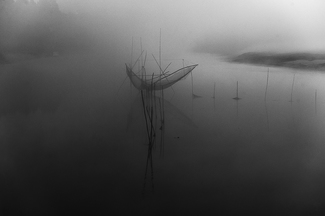 fishing net in mist