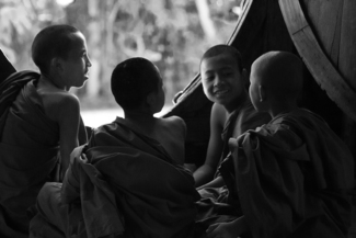 Young monk's sharing stories