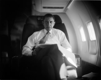 Barak Obama on the Campaign Plane