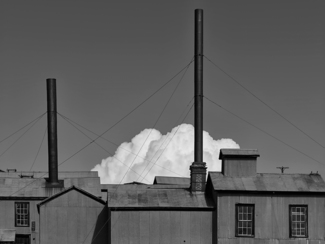 Smoke Stacks and White Cloud