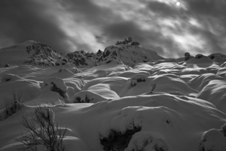 Snow Hummocks, Illuminated by the Full Moon