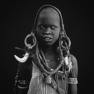 A Young Mursi Woman in Omo Valley, Ethiopia