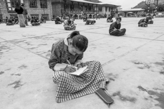Bhutan School Children Taking Exam