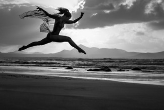 Jumping High at the Beach  B&W