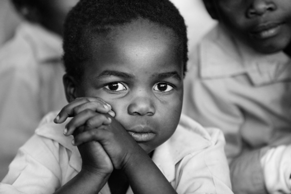 Child in the Moabi Primary School of Lephalale, South Africa