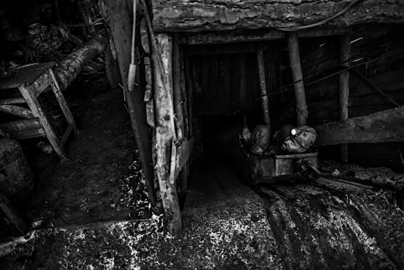 Miners of illegal coal mines in Torez, Ukraine