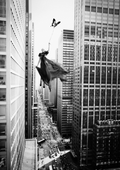 Girl Flying over New York