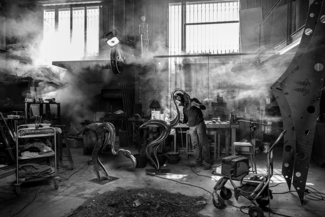 Sculptor Denis Nayrac in his Workshop