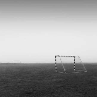Soccer field in the fog