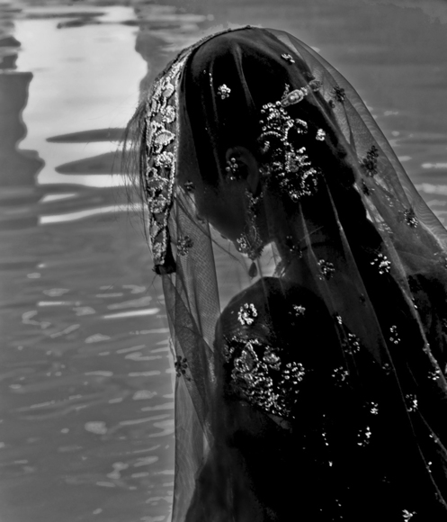 Bride by the pond