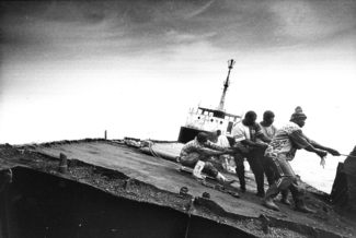 Clandestine Workers in Mauritania Dismantling a Boat (Including Asbestos)