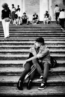 Young Couple Kissing at Spanish Steps