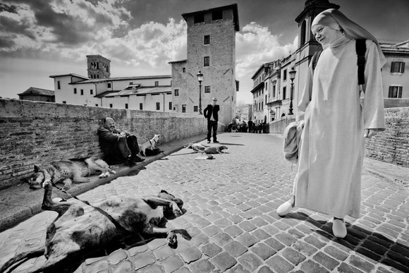 Nun and Dog in Rome