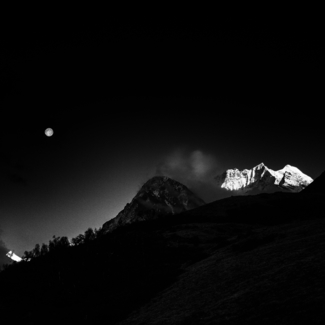 Moonrise over Himalayas