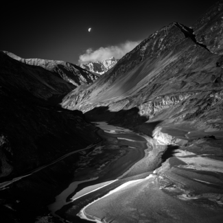 Moon over Zanskar River